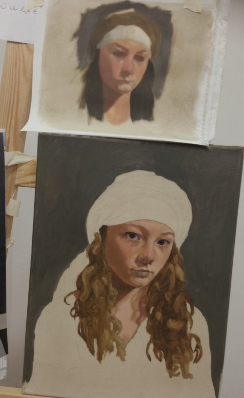 My colour study, top, and the underpainting by end of day 2
