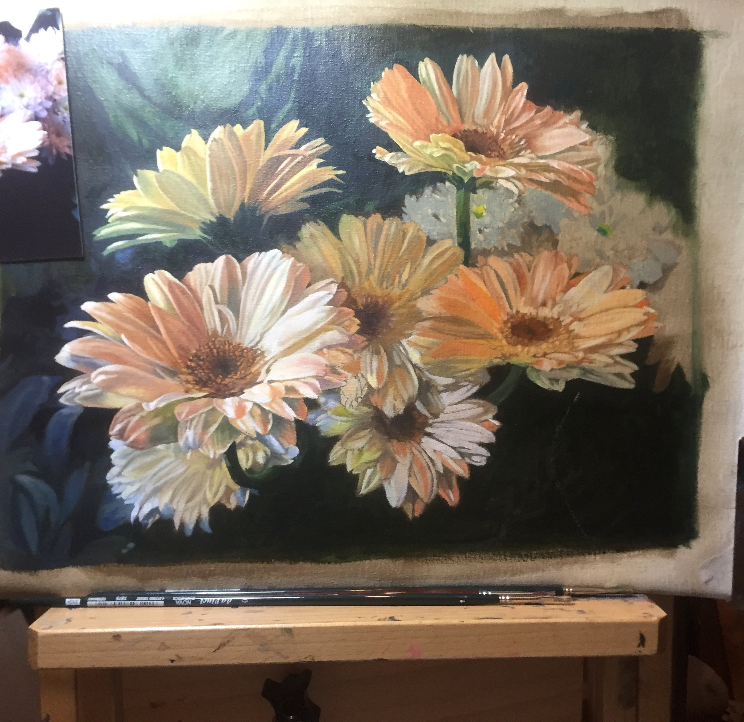 Daisies on the left show the second layer