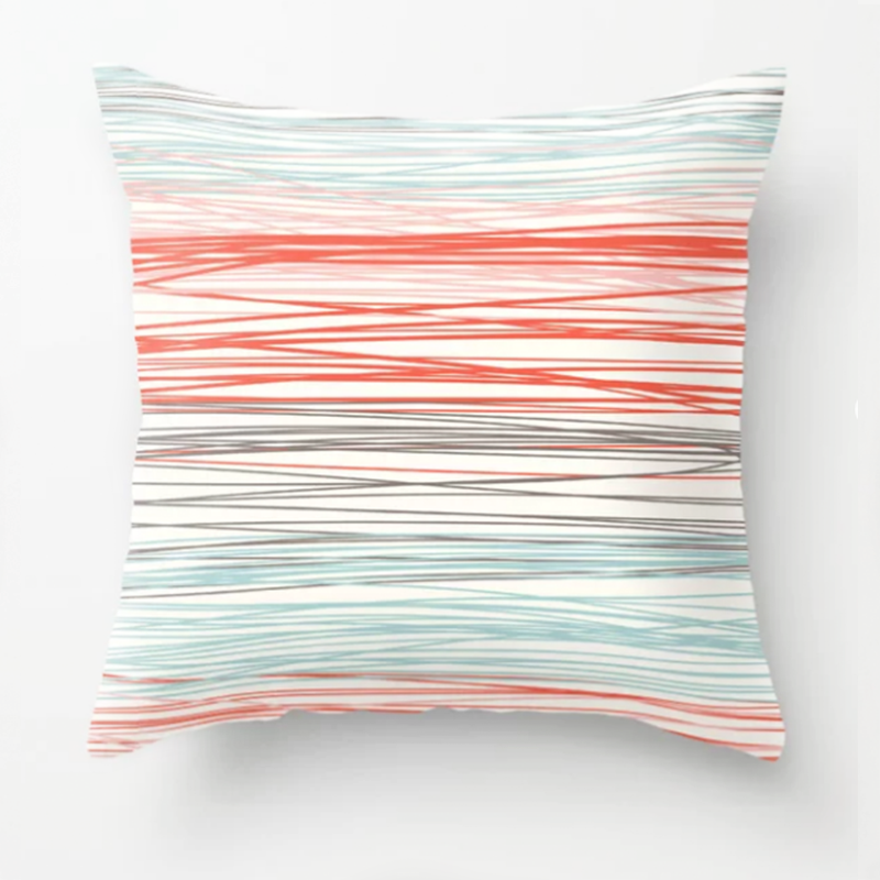 Stripey printed pillow