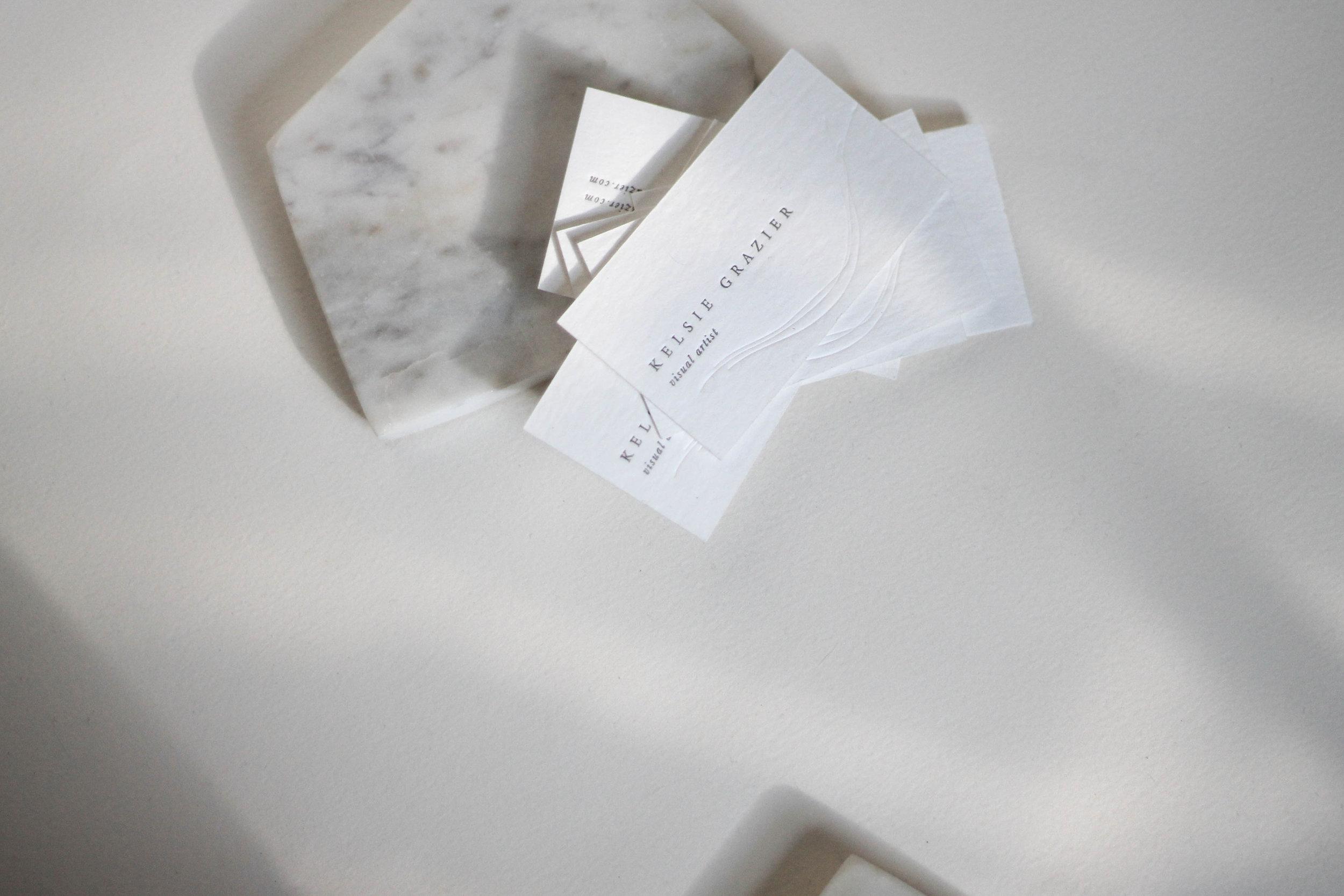 kelsie grazier/ logo & Branding design, in house letterpress printing