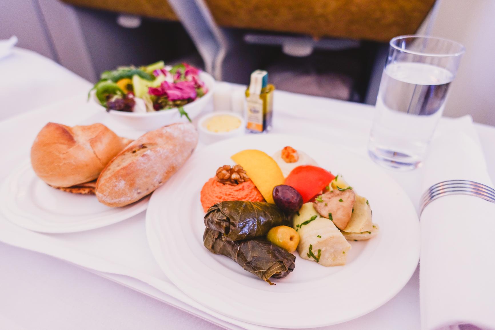 business class emirates a380 arabian mezze menu