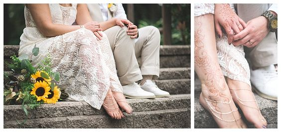 #LEMBAsbride in her custom barefoot sandals  (gold+silver)