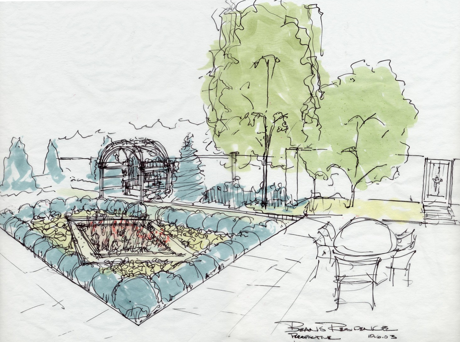 A conceptual sketch was created to help the client envision the final space.