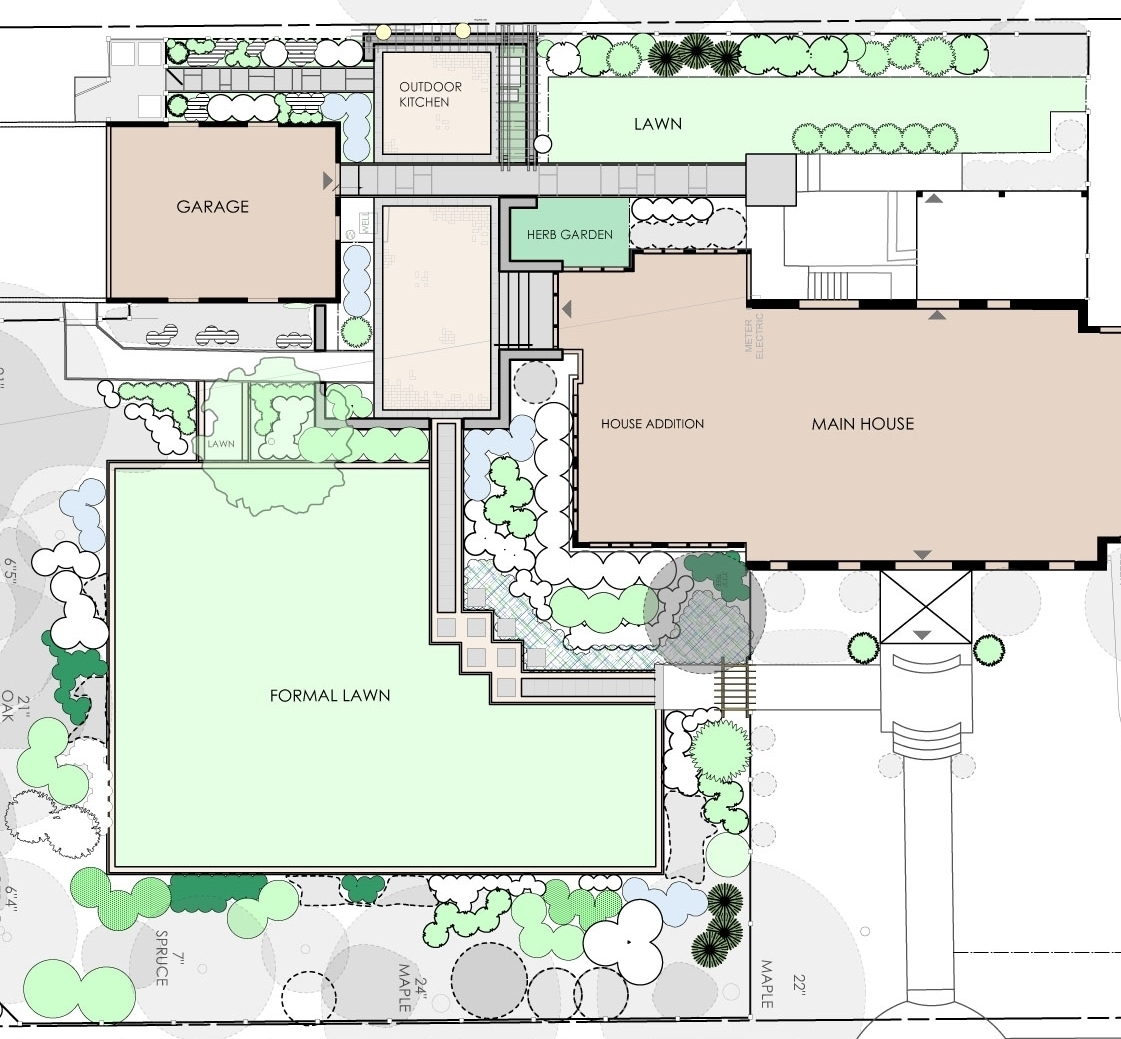 This planting plan by John Morgan Thomas Landscape Architects features a variety of annuals and perennials, as well as an herb garden.