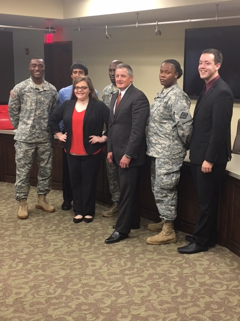Student Support Services, McNair, and Veterans Upward Bound (L to R): SPC. Kevin Maxey, 2LT Jermaine Thurston, SPC D'Anntionnette, Sierra Stormes, Raul Arce, and Tanner Oglesby