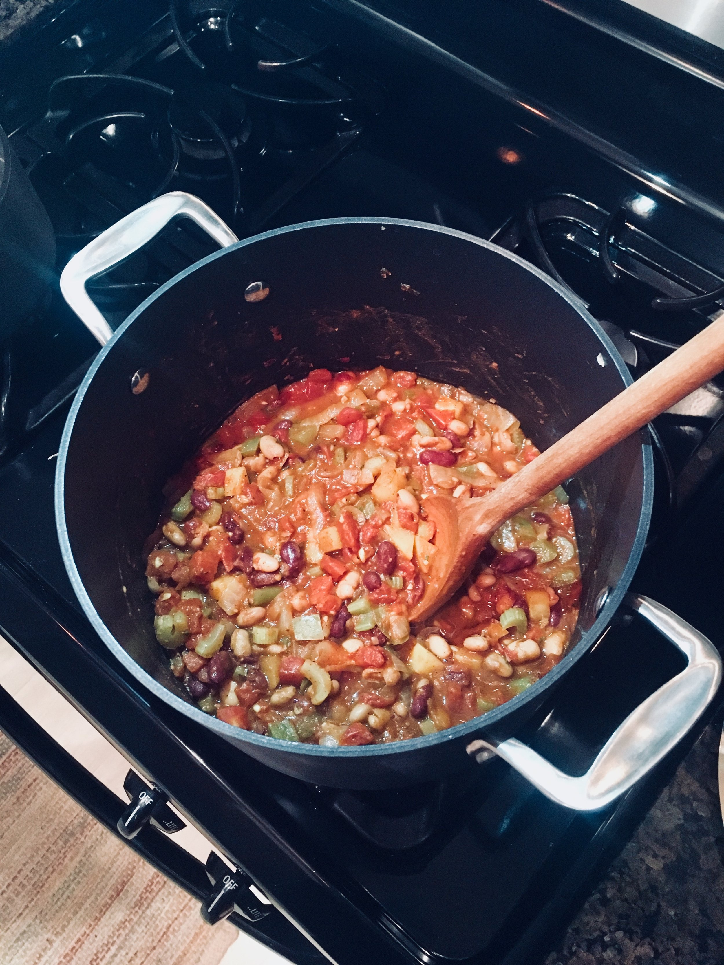 Yum, veggie chili. We opted to add celery and substitute rutabaga for carrots in this batch. It was sooooo good!