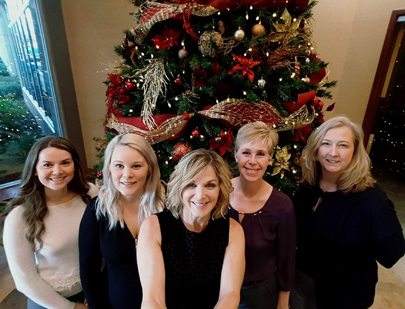 Our 2017 Christmas Holiday Selfie!  L to R: Kelsey, Sarah, Christine, Joni and Jennifer