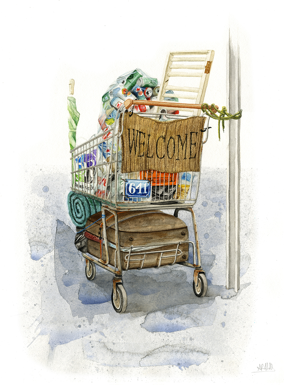 """""""Home is where the cart is""""  2014  Watercolor on paper  24""""x18""""  Available"""