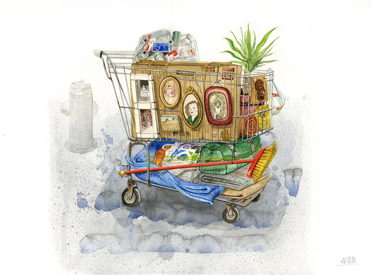 """""""El recuerdo de  los nómades""""  2014  Watercolor on paper  18""""x24""""  Not for sale"""