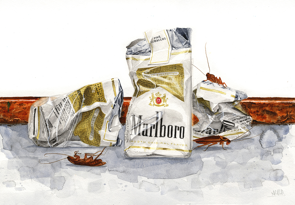 """""""Cigs and roaches III""""  2014  Watercolor on paper  18""""x24""""  Available"""