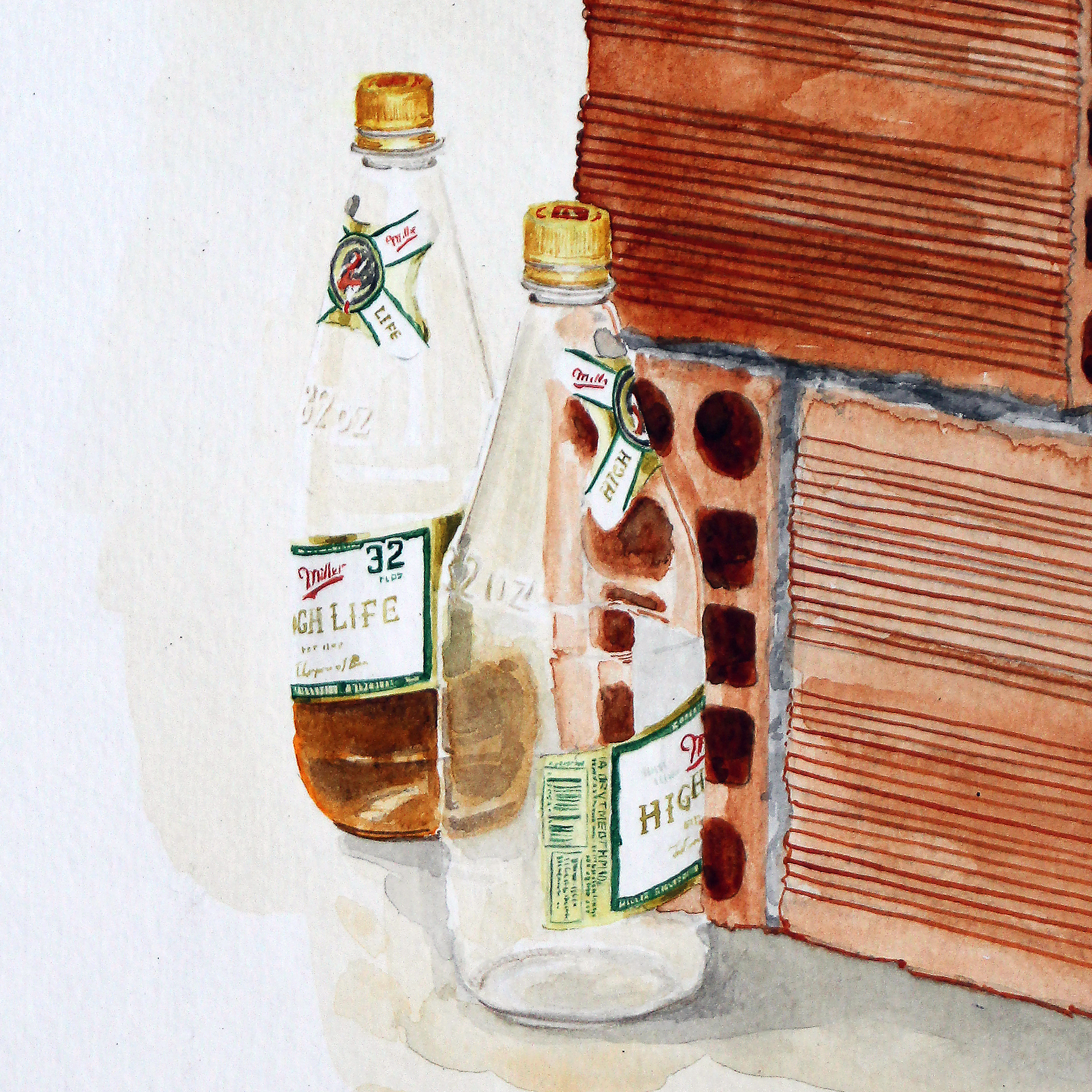 """The High Life"" detail  2015  Watercolor on paper  48"" x 32""  Available"