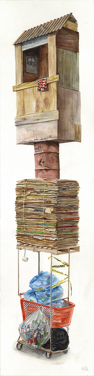 """Kennedy, 297""  2016  Watercolor on paper  60"" x 15""  Available at Thinkspace Gallery"