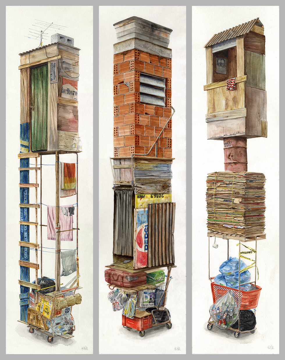 """""""Jupiter, 513"""", """"Camino Real, 783"""",""""Kennedy, 297""""  2016  Watercolor on paper  60"""" x 15"""" each  Available at Thinkspace Gallery"""
