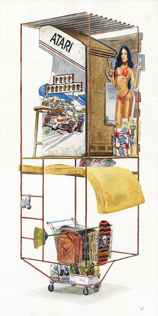 """Coin operated""  2017  Watercolor on paper  12"" x 24"" inches  • SOLD"
