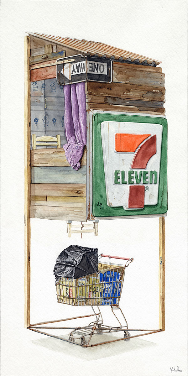 """""""Born Equal""""  2017  Watercolor on paper  12"""" x 24"""" inches  • SOLD"""