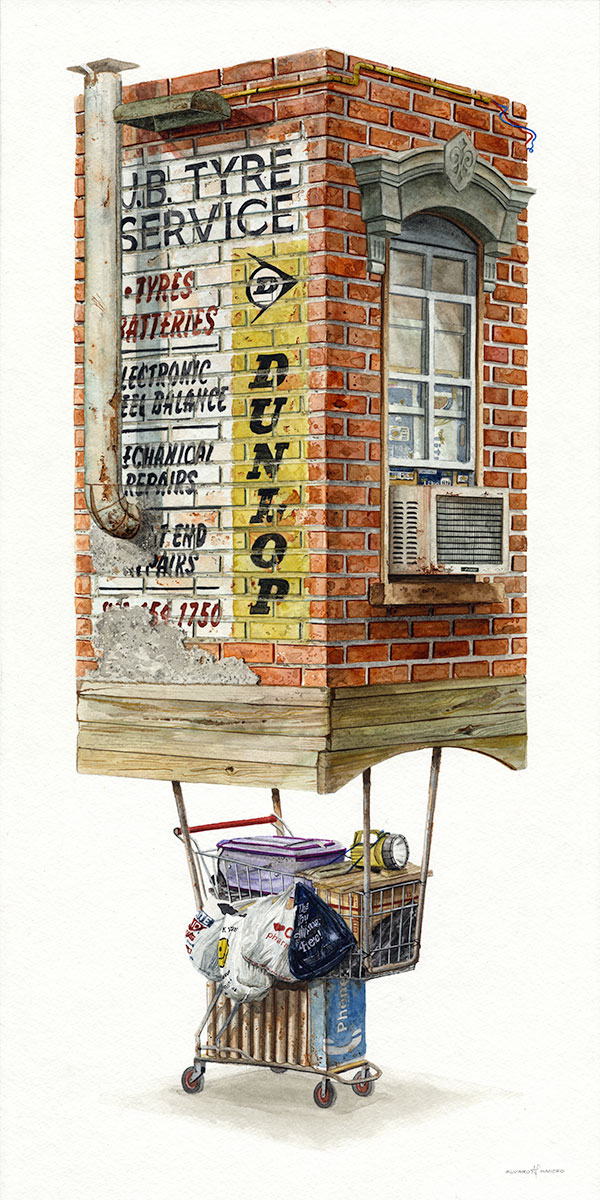 """""""Rethreaded""""  2018  Watercolor on paper  12"""" x 24"""" inches  $1300 at Thinkspace Gallery"""