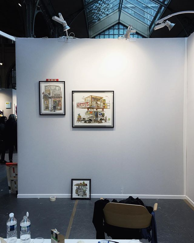 That's how the installing started, we hanged 11 of my paintings today (with one to rotate later). Tomorrow is the vernissage and I'll show you how the whole wall came along. I'm really excited!  #urbanartfair