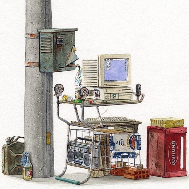 """Finished this painting, """"ICQ"""" 9.5x9.5 inches, watercolor on paper.  #painting #illustration #watercolor #newcontemporary #lowbrow #popsurrealism #surrealism #popart #streetart #urbanart #realism #art #artwork #arteurbano #architecture #americana #macintosh"""