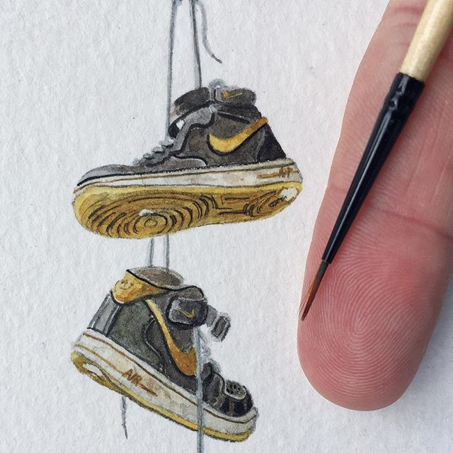 Detail on a 7x7 inches, watercolor on paper.  #painting #illustration #watercolor #newcontemporary #lowbrow #popsurrealism #surrealism #popart #streetart #urbanart #realism #art #artwork #arteurbano #architecture #americana #nike #airforce