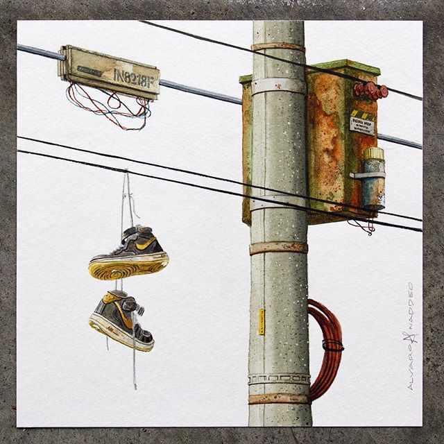 Finished this 7x7 inches, watercolor on paper.  #painting #illustration #watercolor #newcontemporary #lowbrow #popsurrealism #surrealism #popart #streetart #urbanart #realism #art #artwork #arteurbano #architecture #americana #nike #airforce