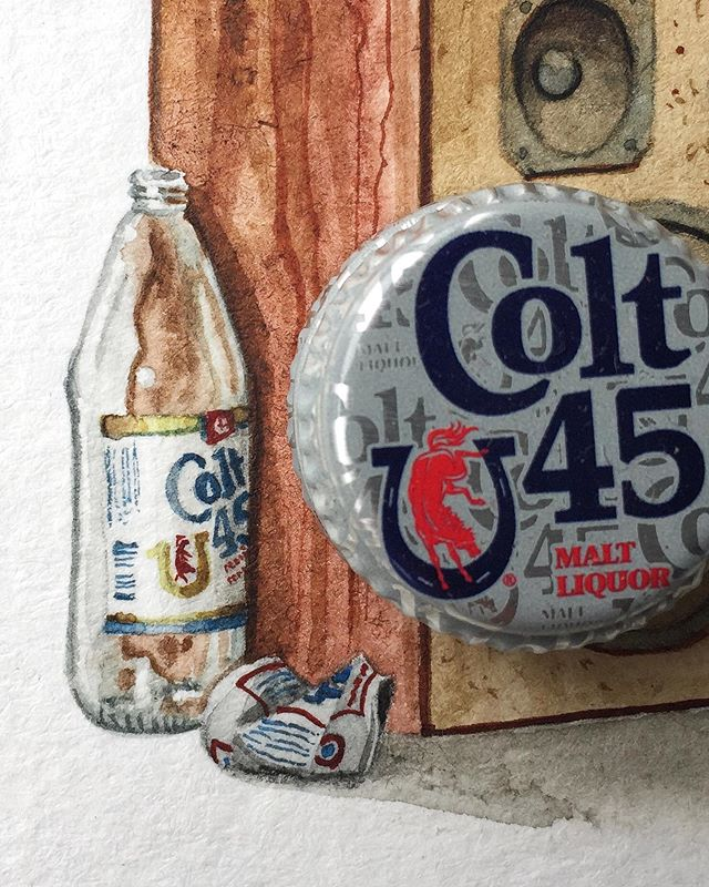 Detail on a 11x11 inches, 40oz bottle cap for size reference. Watercolor on paper.  #painting #illustration #watercolor #newcontemporary #lowbrow #popsurrealism #surrealism #popart #streetart #urbanart #realism #art #artwork #arteurbano #architecture #americana