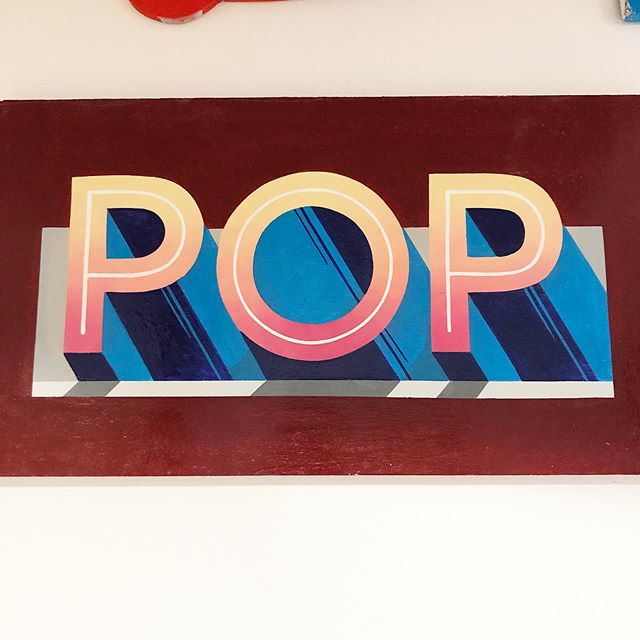 This POP is hanging in the studio and I painted it a couple of years ago. Practicing linseed brush blends and inspired by some lettering in a French type specimens book from 1882 called 'Album du printer en batîment'. It's full of gems! #signpainting #signwriter #signpainter #handdrawntype #handlettering #lettering #type #sign #goodtype #dailytype #typism #handmadetype #typography #signsofpower
