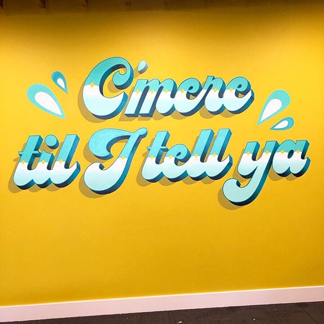 Facebook commissioned a 'C'mere til I tell ya' wall for their Data Centre in Clonee, Meath. I painted this slogan last year in Temple Bar for @lovetemplebar so it seems to be a pretty popular Dublin slogan. First time using the new projector, thanks @the_project_twins for the recommendation. And great to try the airbrush out on a mural. Nice painting out there with @buse__art @james_earley and @shanesutton_art. #signpainting #signpainter #handlettering #signwriter #lettering #handdrawntype #vector #type #typography #dailytype #goodtype #facebook #handpaintedsigns #signsofpower #mural