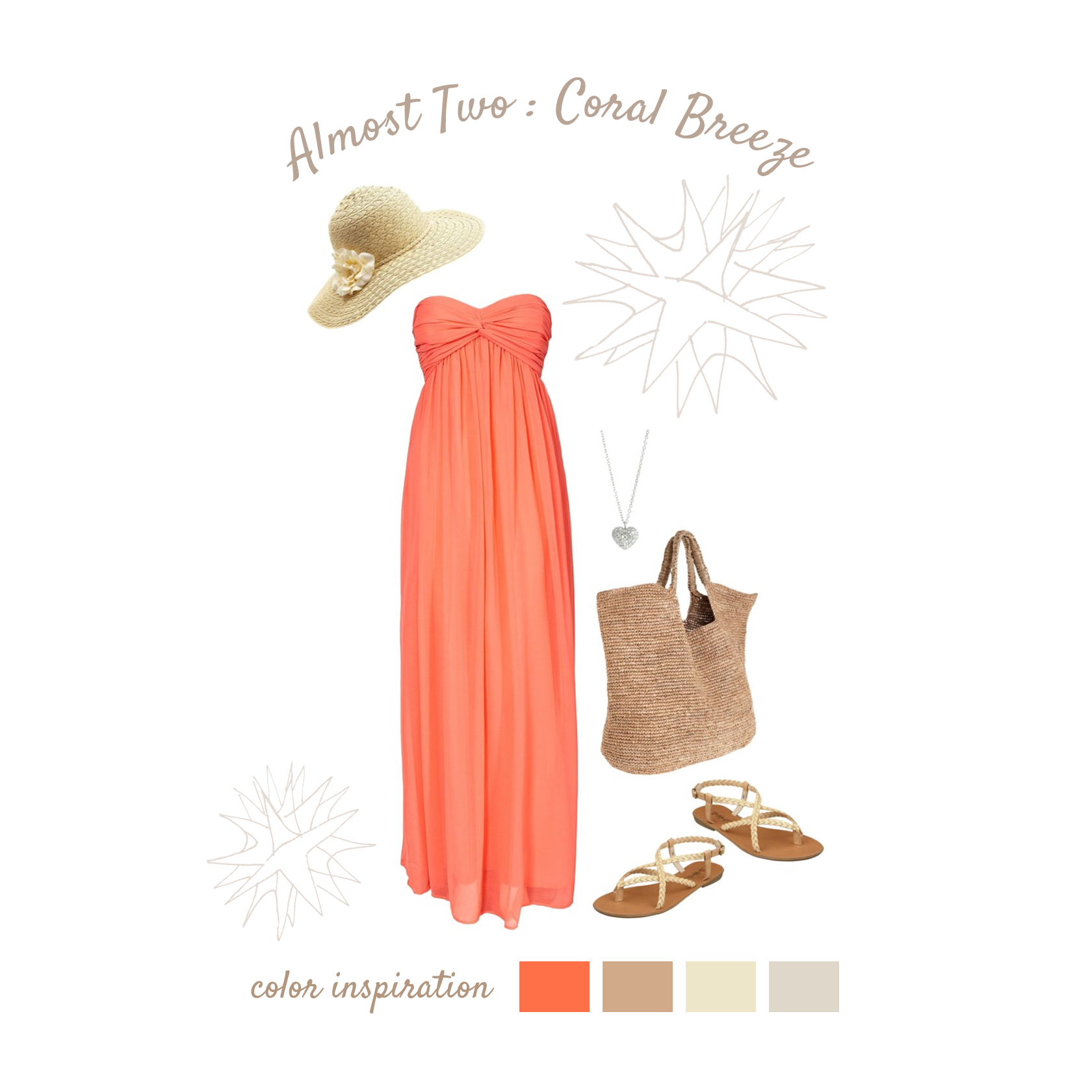 Coral Breeze Coral is a lovely color for photo shoots both indoor and outdoors! A long, flowy maxi dress keeps you comfortable while allowing you to show off your baby bump. Natural fiber accessories, such as a straw hat and woven bag, add casual elegance to your look. Sandals look great and feel great with long dresses and prevent your feet from overheating!