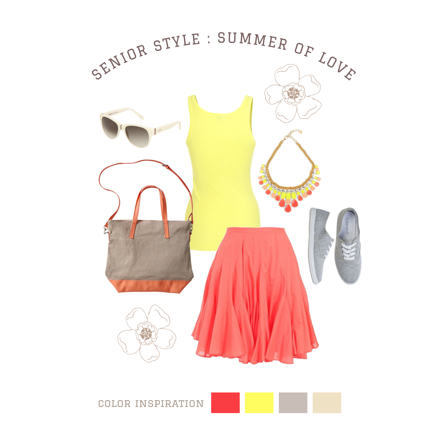 Summer of Love Coral and yellow solids form the base of the outfit, allowing interesting jewelry and accessoriesto create added detail. A flowy skirt adds a whimsical touch. Canvas accessories and shoeskeep things casual. Natural fiber fabrics, such as cotton or linen, help to keep you cool in thewarm sun!