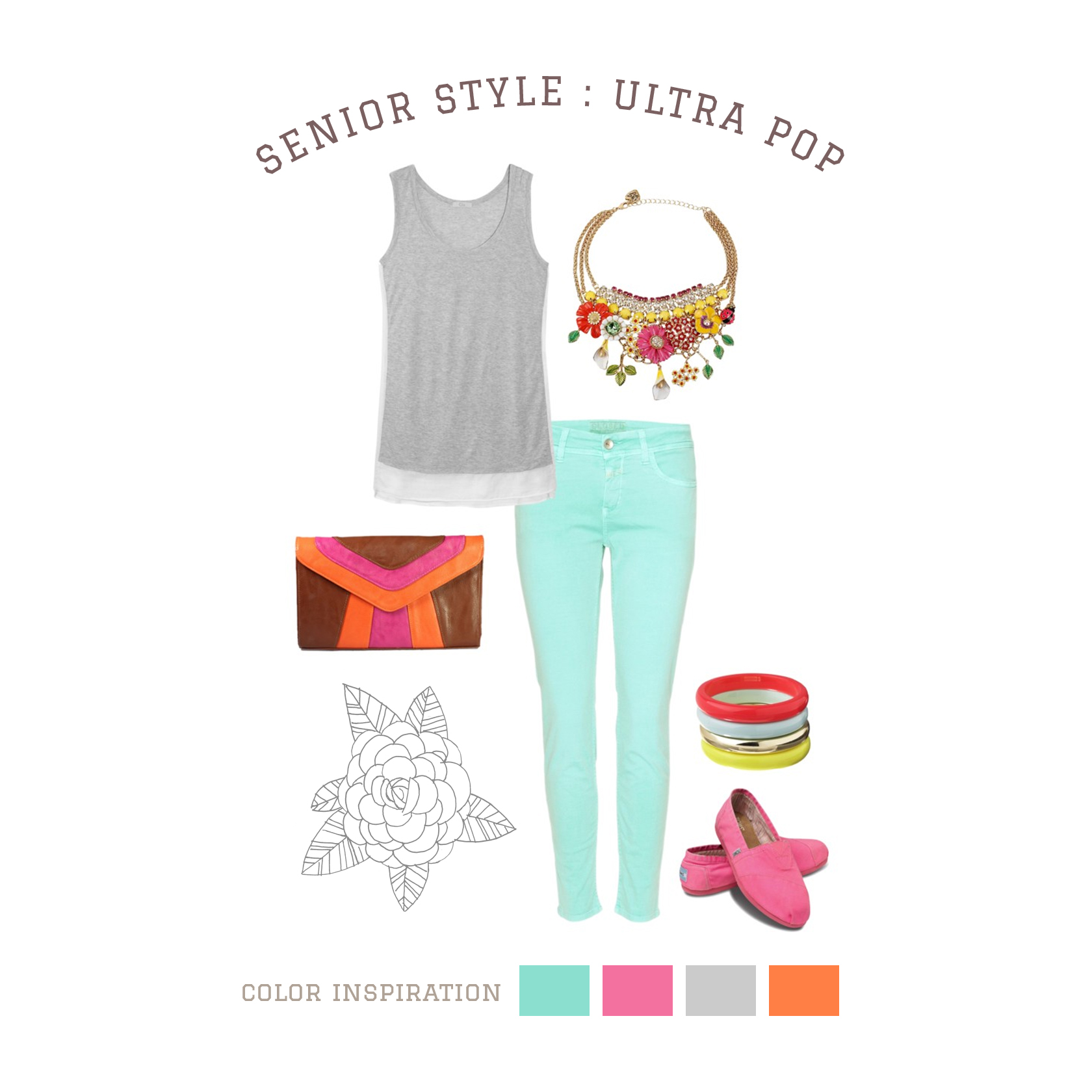 Ultra Pop A mix of quiet and loud makes this outfit a standout. Splashes of incredible, intense color createstrong focal points against soft, neutral colors. Start with solid color pants and a grey tank thenadd color and personality with shoes and accessories! A great look for indoors or outdoors.