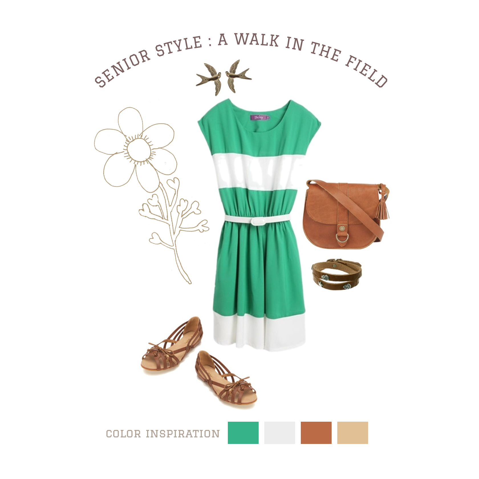 A Walk In The Field A stunning blend of emerald and natural leather make for an unforgettable outfit! Perfect for outdoor shoots, this combination creates a look both rustic and modern. Accessory details add interest to your images and allow lots of room for self-expression!