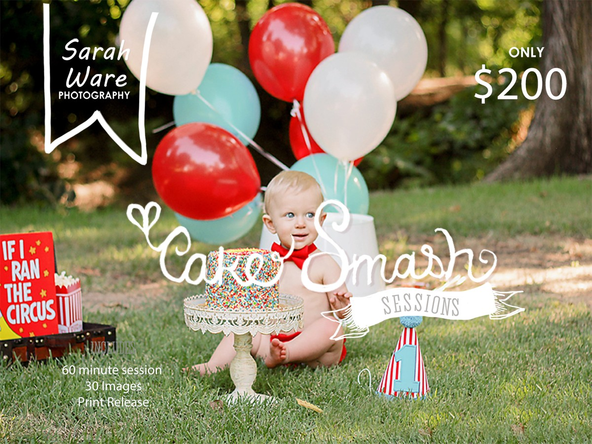 Cake Smash Pics on Location at the Grapevine Botanical Gardens. For a session like this please email me swp@sarahwarephotography.com