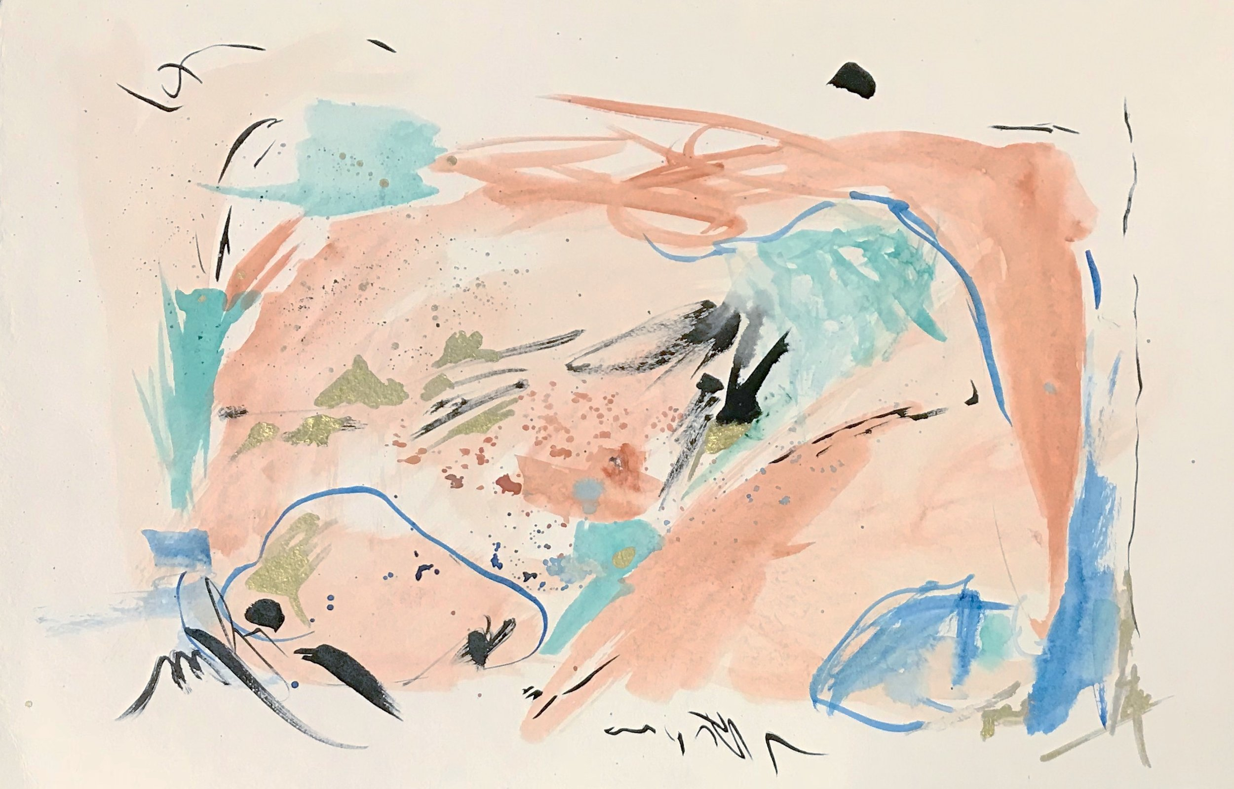 "sands of san tropez / watercolor and ink on handmade paper / 17"" x 12"""