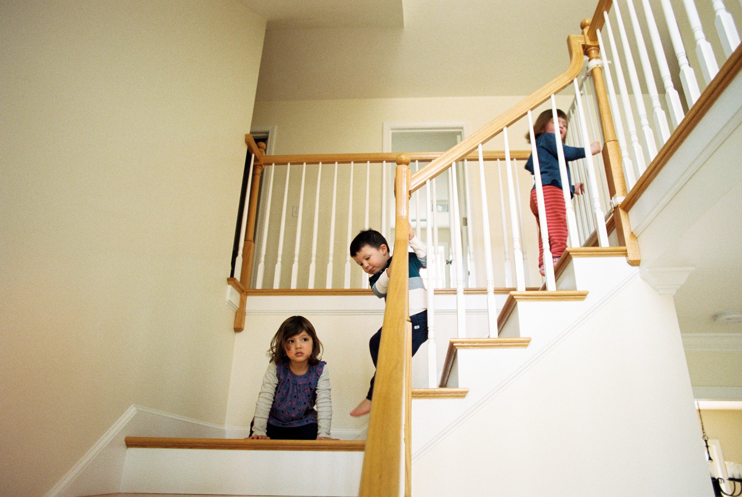 Toddlers on the Stairs (Nikon FM2 :: Portra 400)   78/366