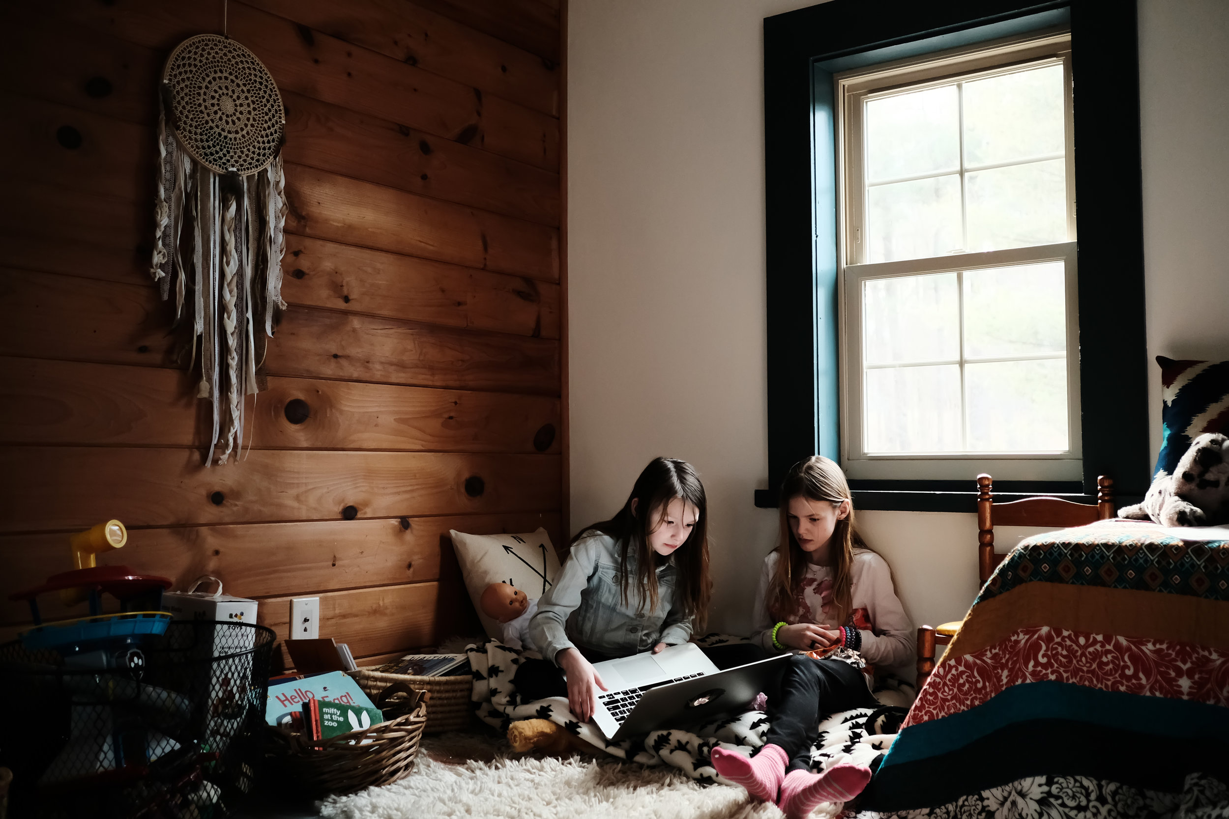 We walk the fine line between make-believe and Musical.ly. Between blanket forts and Minecraft. Strange, new world for us all.   Photo by Olivia Gatti     Facebook :: Website