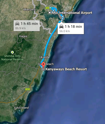 Google map image of directions from Mombasa international airport to kenyaways. Click image to open website link.