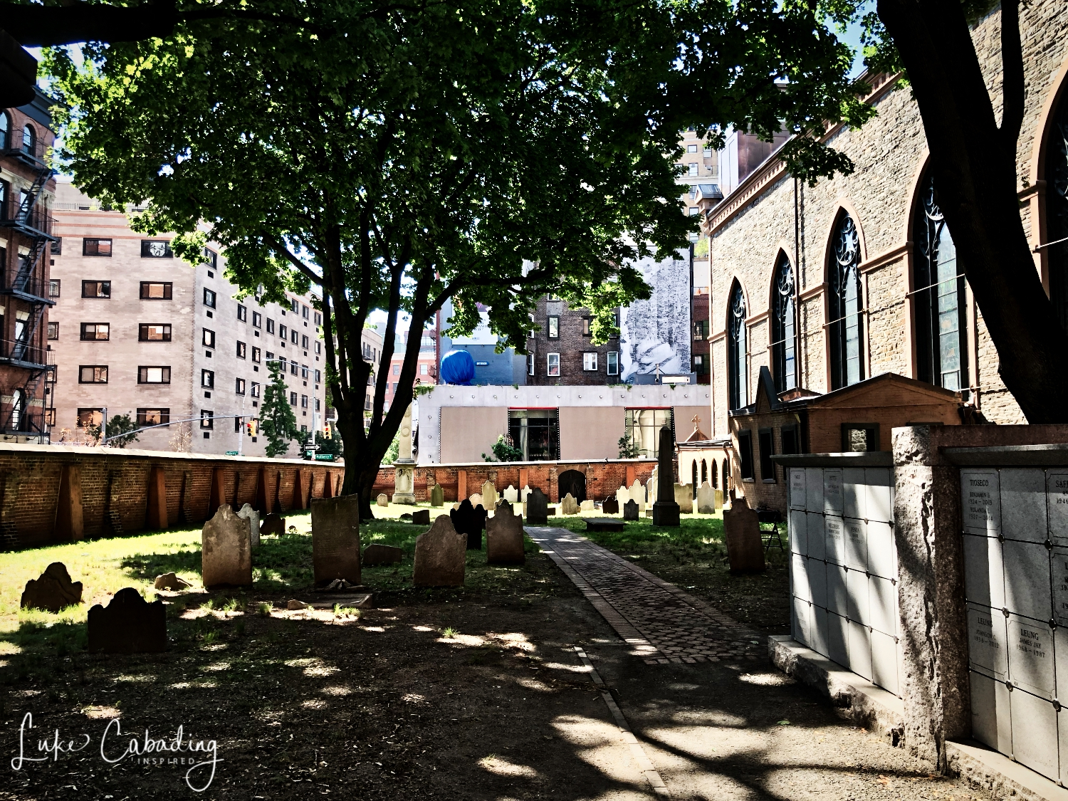 When officials of the newly established Diocese of New York decided to build the city's first cathedral in 1809, they selected a site at Mott and Prince Streets that was within the burying ground of St. Peter's Church. St. Peter's, the city's first Catholic church, created the cemetery at the beginning of the 19th century when the graveyard around their church on Barclay Street became full. In 1801, they purchased several lots on the northwest corner of Prince and Mott streets, in the area that is now known as NoLita; an 1803 purchase of additional lots on the northeast corner of Prince and Mulberry streets enlarged the new burial ground.