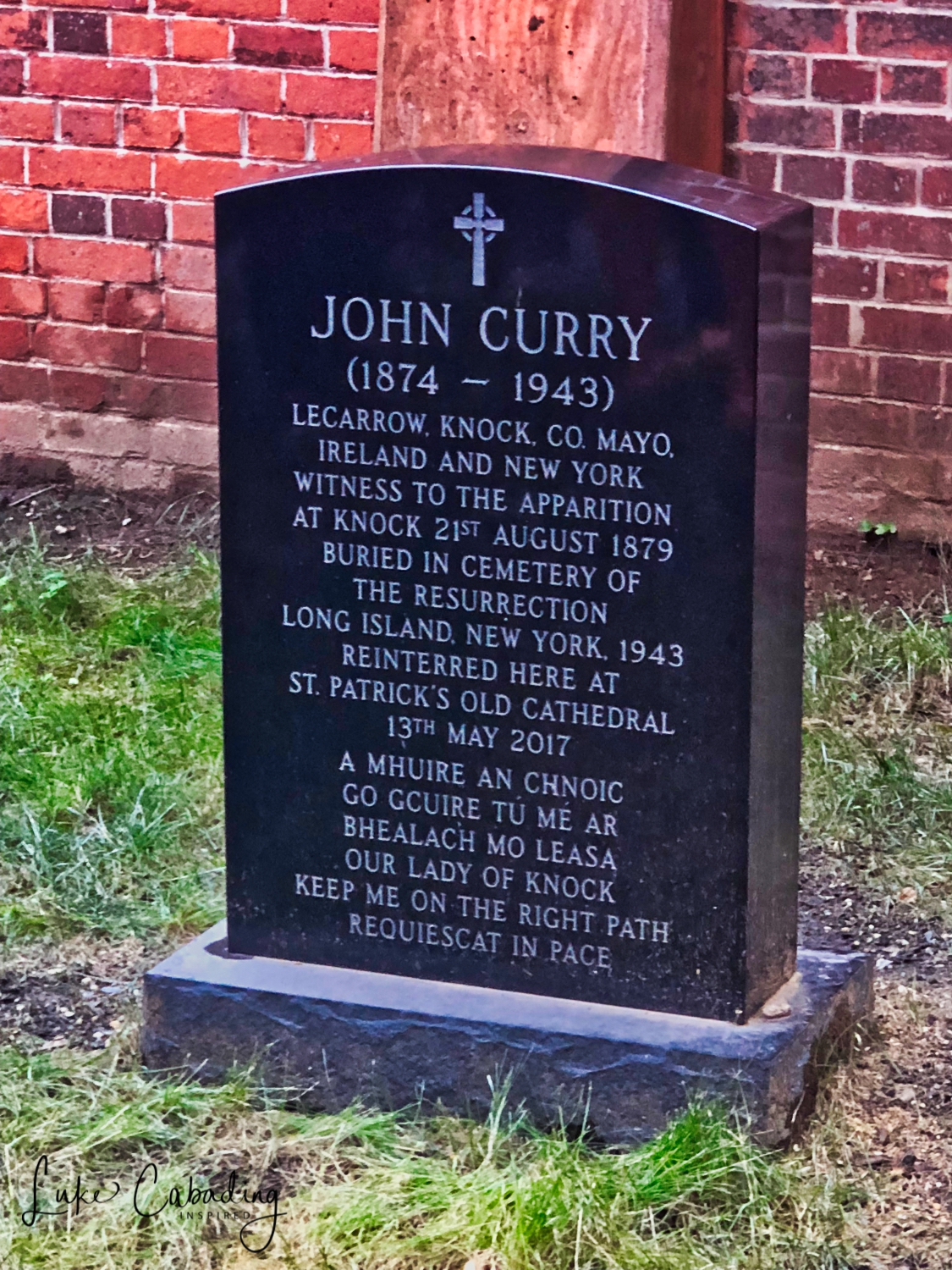 John Curry, one of the 15 witnesses to the apparition of the Virgin Mary in Knock, Ireland in 1879 was reinterred in the walled cemetery on the Basilica grounds after a Requiem Mass celebrated by Timothy Cardinal Dolan.