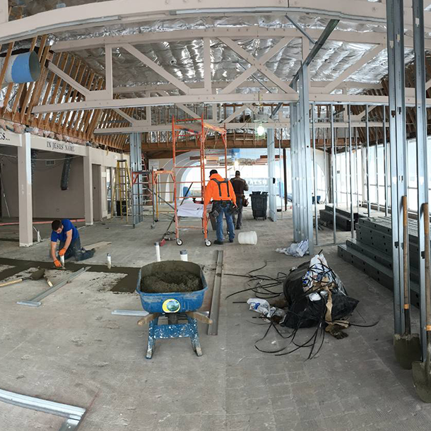 The framing of the offices are being laid out and have started going up along with plumbing being installed for two new bathrooms.