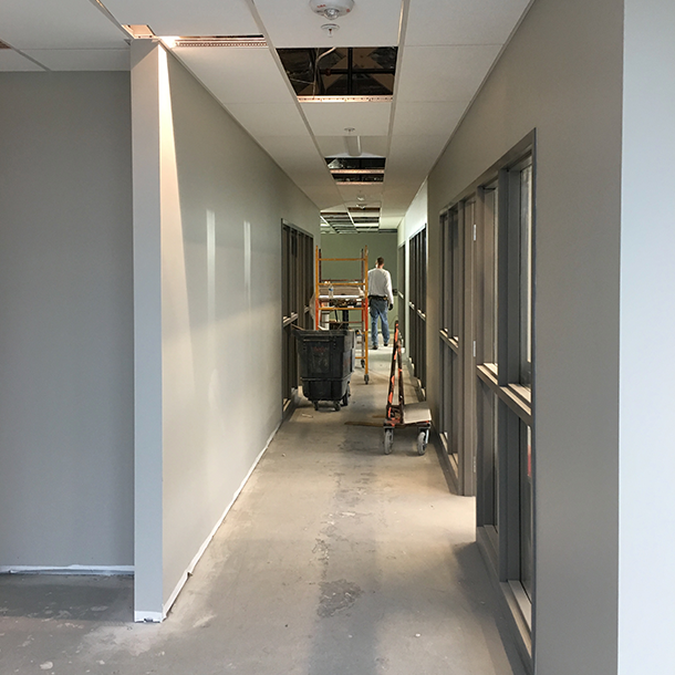 Office space hallway during construction.