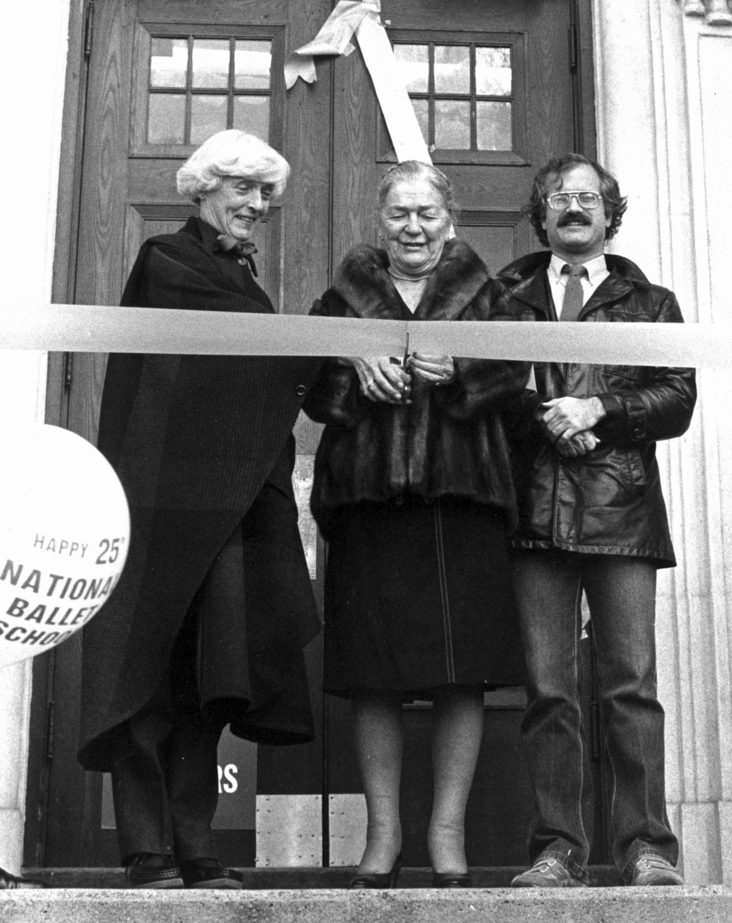 "Betty Oliphant, the Honourable Pauline McGibbon, and Jack Layton at the opening ceremony of ""National Ballet School Week."""