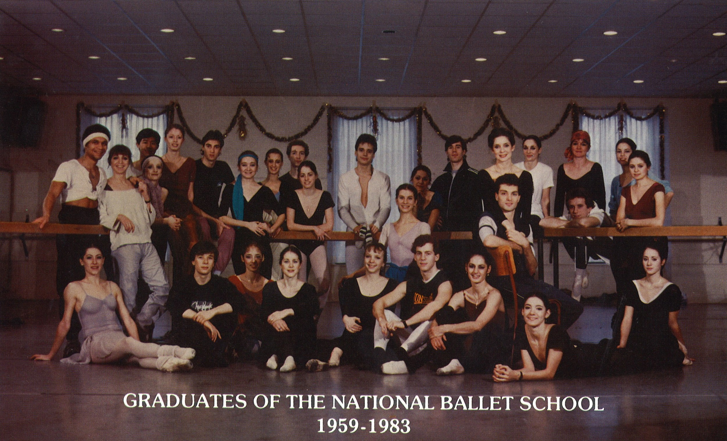 Graduates of Canada's National Ballet School from 1959-1983 gather to celebrate the School's 25th anniversary in 1984.
