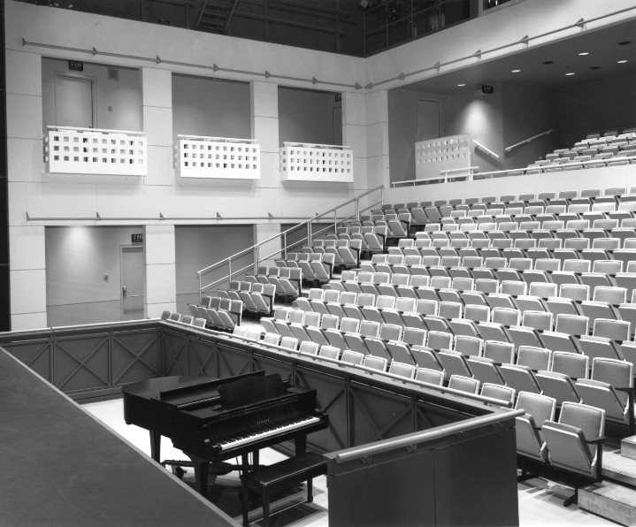 A central part of the R.A. Laidlaw Centre was the 300-seat Betty Oliphant Theatre, which fulfilled Betty Oliphant's dream of having a stage training facility in NBS. This photo shows the Betty Oliphant Theatre as it looked upon completion in 1988.
