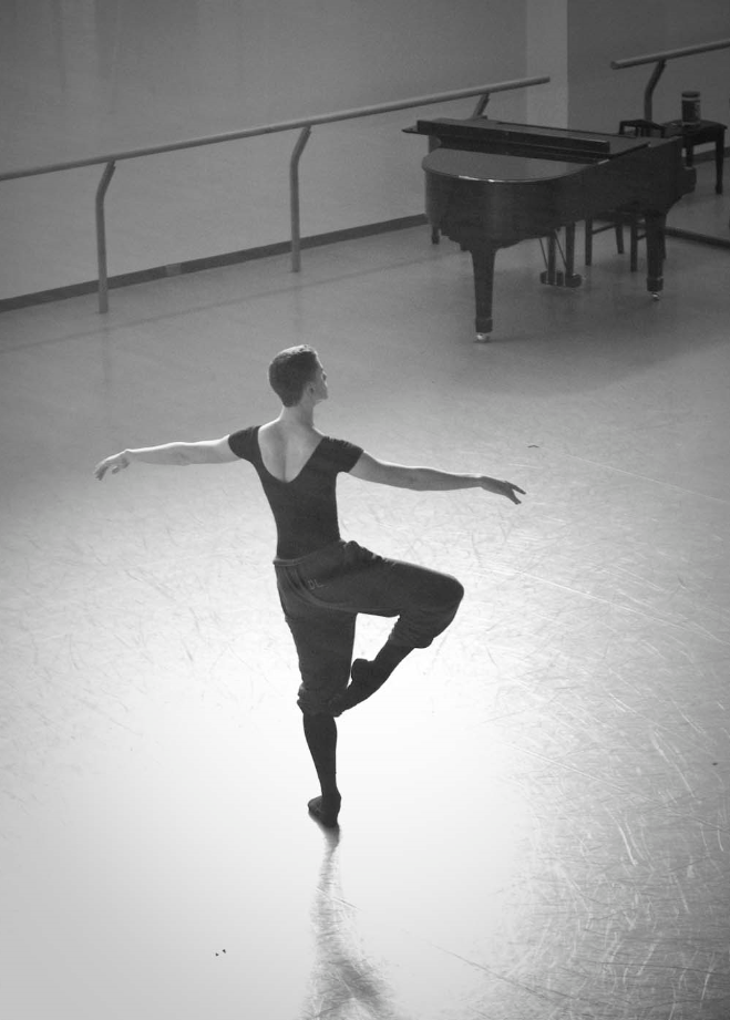 NBS welcomed students from 13 professional ballet schools around the world as part of AI 09. Here, an AI 09 participant rehearses in the studio.
