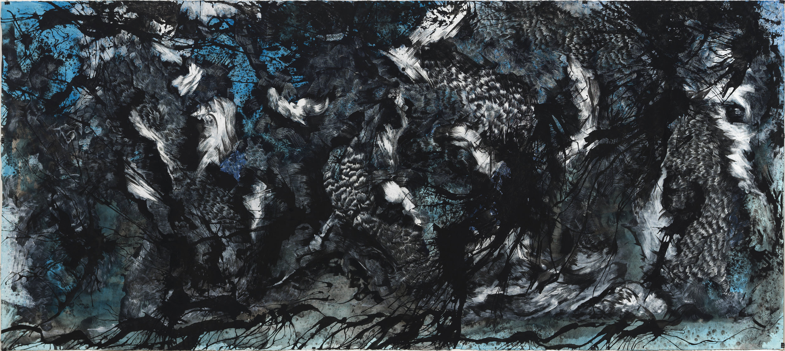 "Blue , ink and gouache on paper, 52"" x 144"", 2015"