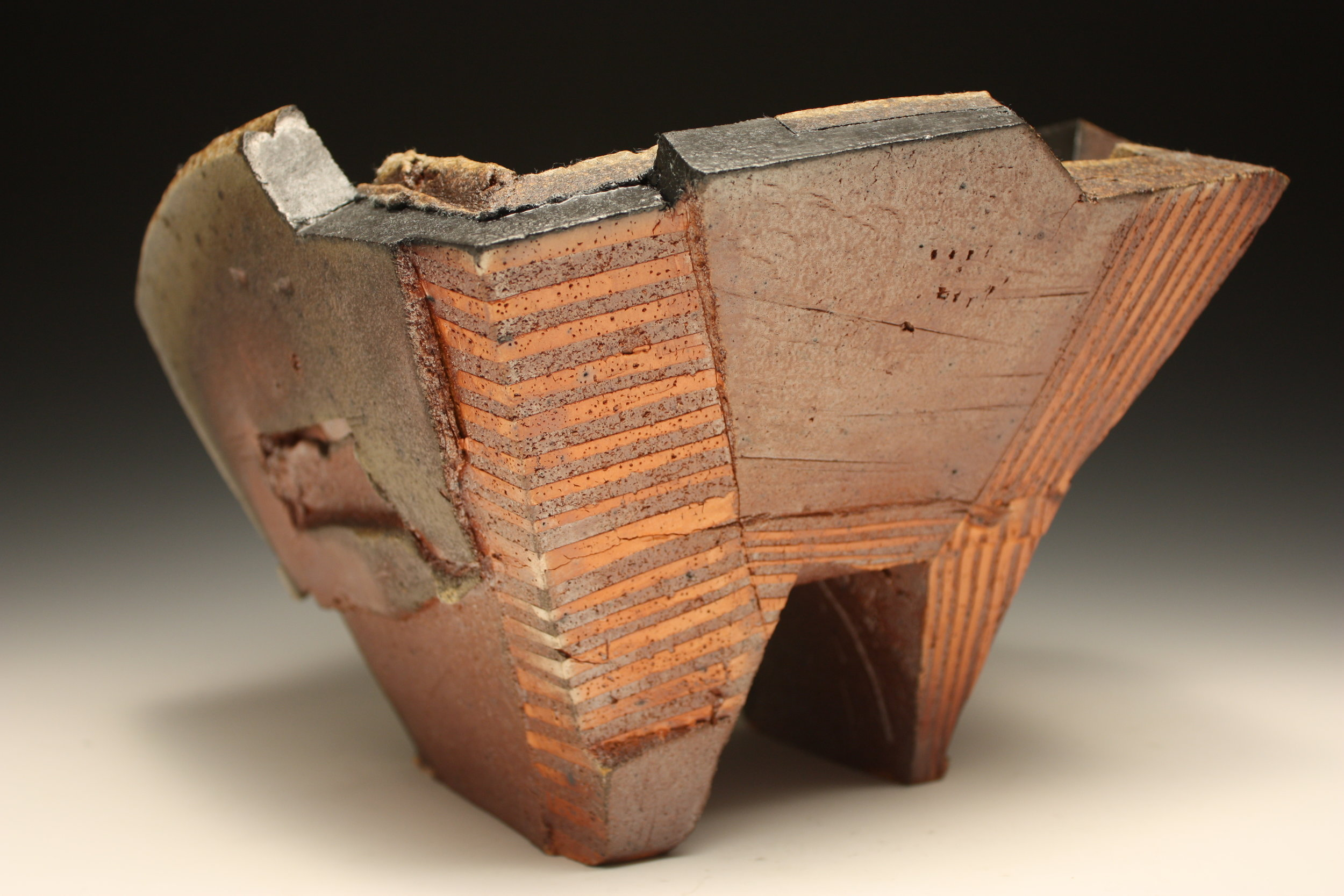 "Bruce Dehnert   Venetian   Wood fired and oxidation fired stoneware.  Slips. Glazes.  14""x9""x14"""