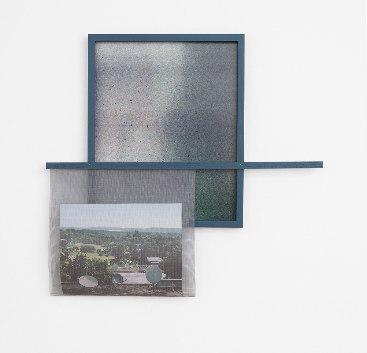 """Jeremy Bolen   Vieques #2   archival pigment print made from buried film, window screen, artist's frame, fragments of buried film 36"""" x 40"""" 2015"""