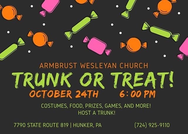 Hey Guys! Don't forget we are serving at Trunk or Treat tonight! Be here at 5 to help us get everything in place! Can't wait to see you!