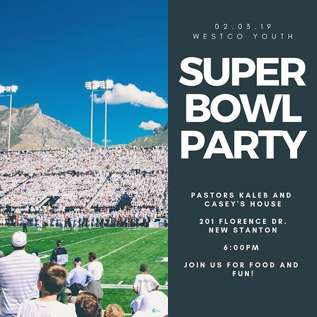 Looking for good food and a good time? Looking for a place to watch the big game? Honestly, you don't even have to like football! Join us at Pastor Kaleb's for a great time Sunday night!