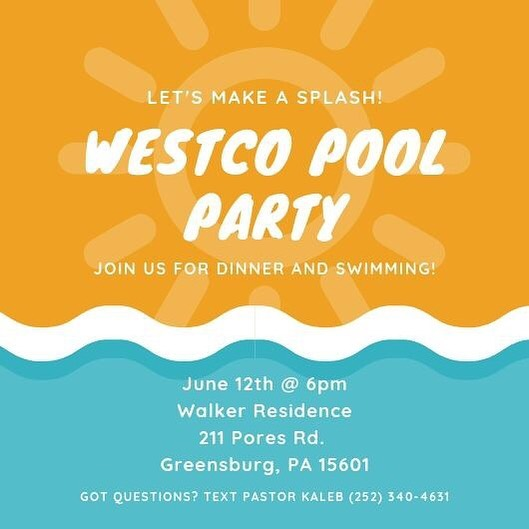 Don't miss us tomorrow! We won't be at the church- we will be swimming at the Walker's! Pizza, swimming, and lots of other fun you won't want to miss! Send us a message if you plan on coming!